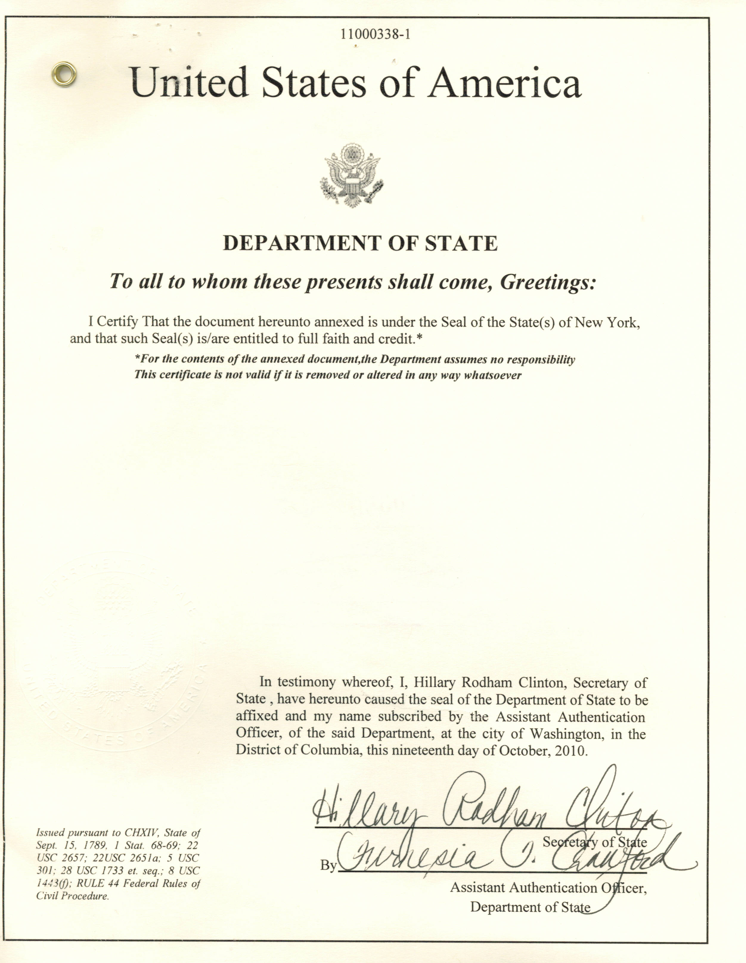 Same day nys apostille nyc apostille manhattan for Us department of state authentications cover letter